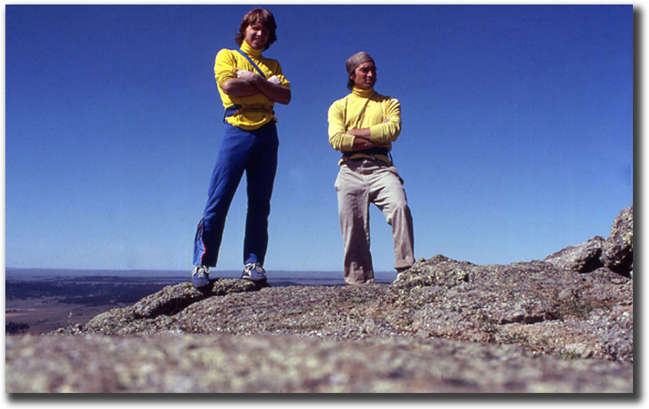 Max JOnes and Mark Hudon on top of Devils Tower in 1979