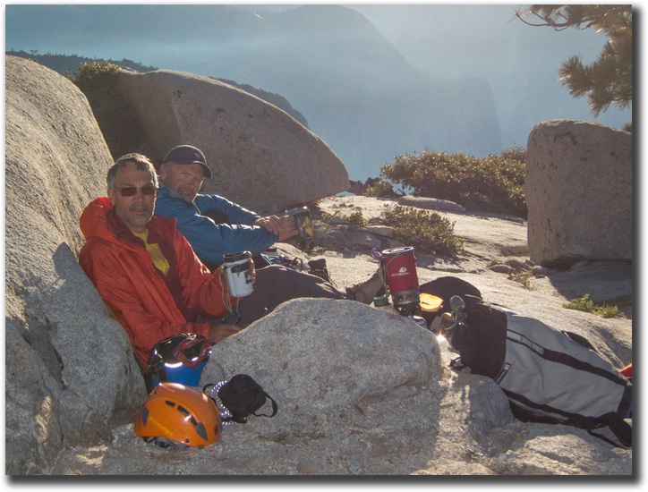 Mark Hudon and Max Jones on top of El Capitan's Reticent after 9 days on the wall