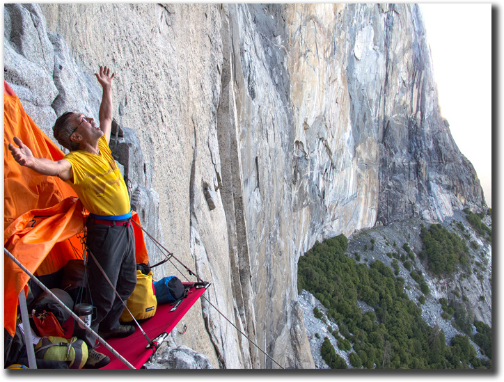 Mark Hudon welcomes the morning on Lay for his portaledge on El Capitan